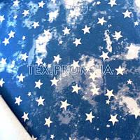 Трикотажное полотно футер петля двунитка хб/эл пенье, печать звезды