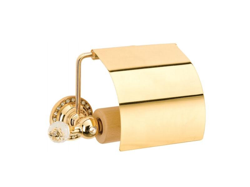 Держатель для туалетной бумаги с крышкой Kugu Swan 411G, золото