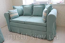 Мягкая кухонная мебель со спальным местом бирюзового цвета