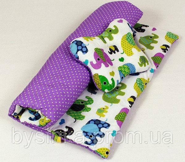 Детский комплект в коляску (зима, осень, весна) Слоники на сиреневом одеяло 65 х 75 см подушка 22 х 26 см