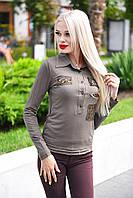 Рубашка женская коттон с нашивками (Расцветка)