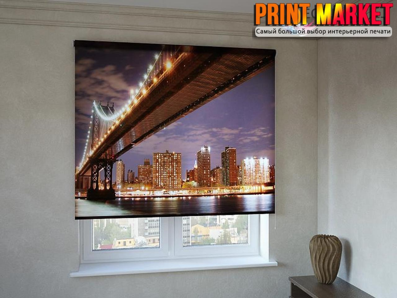 Рулонные шторы с фотопечатью ночной мост 3д
