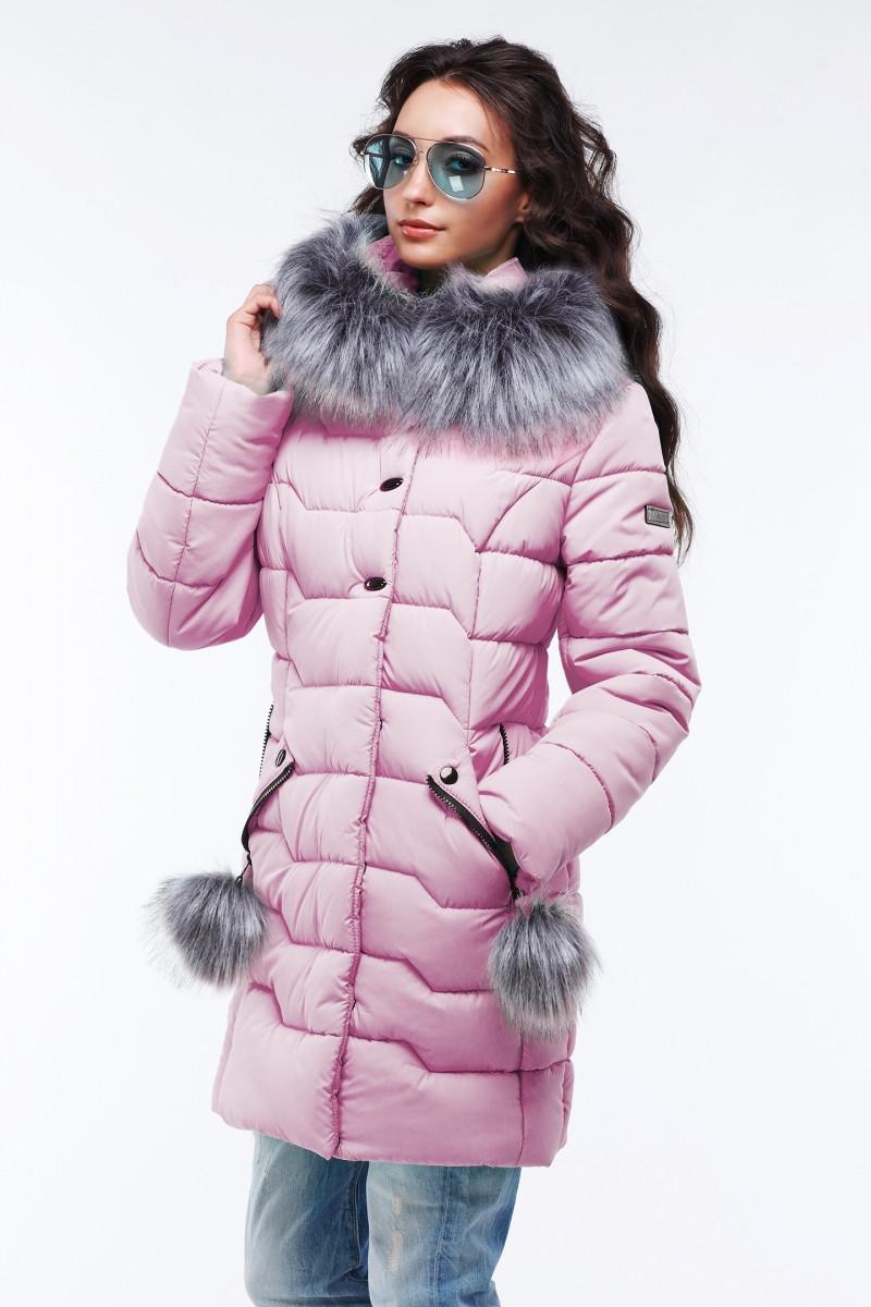 Стеганая куртка, с воротником-стойкой и капюшоном с отстежным эко-мехом, 42-56,наличие размера уточняйте