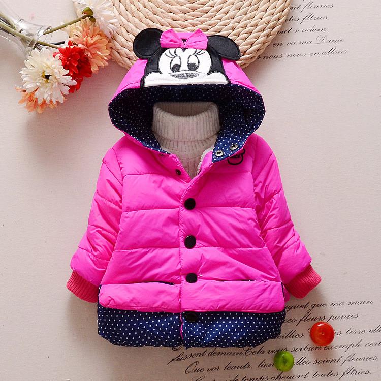 Куртка для девочки малиновая на кнопках с мышкой