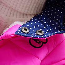 Куртка для девочки малиновая на кнопках с мышкой, фото 2