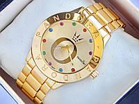 Женские кварцевые наручные часы Pandora золотые с разноцветными стразами, фото 1