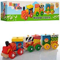 Деревянная игрушка Паровозик каталка E12598