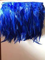 Перьевая тесьма из перьев петуха.Цвет синий .Цена за 0,5м