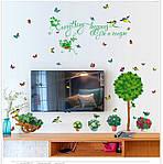 Декоративна наклейка на стіну Дерево з квітами (110х100см), фото 3