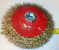 Металлическая щетка на болгарку 125 мм в форме блюдце мягкая рифленая проволока