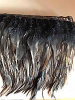 Перьевая тесьма из перьев петуха.Цвет на черный.Цена за 0,5м