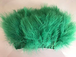 Перьевая тесьма из перьев лебедя.Цвет зеленый.Цена за 0,5м