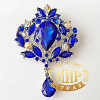 Брошь восточная, цвет Sapphire, 98х65 мм, 1шт