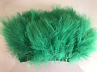 Перьевая тесьма из перьев лебедя.Цвет зеленыйый.Цена за 0,5м