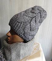 Шапка женская вязанная зимняя цвета, фото 1
