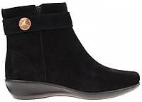 Зимние замшевые женские черные ботинки на танкетке Inblu DL02C1
