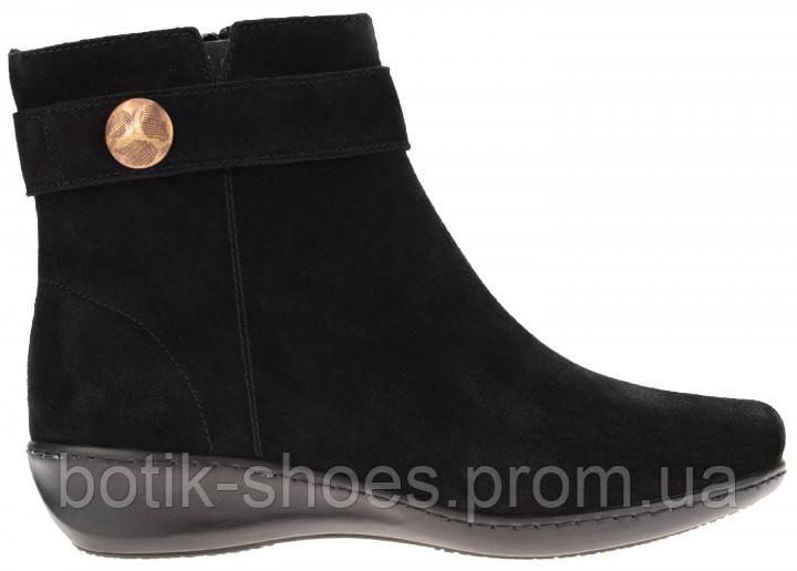Зимние замшевые женские черные ботинки на танкетке Inblu DL02C1 -  интернет-магазин обуви