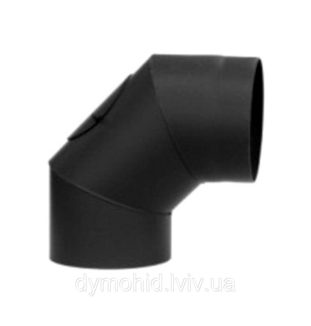 Регульоване коліно 90° з чорної сталі з ревізією  ∅120- ∅200