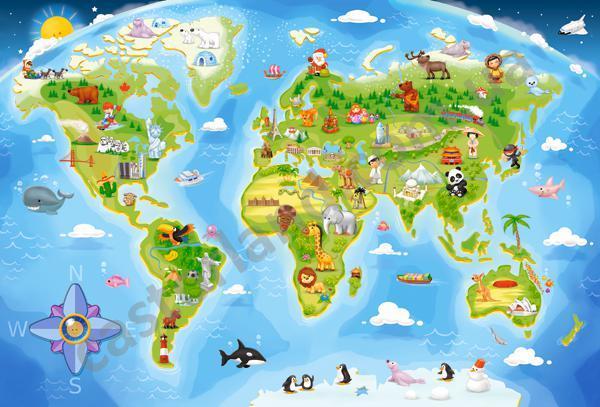 Пазлы Castorland  Карта мира, 40 элементов maxi