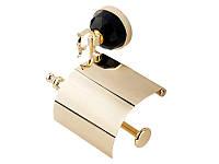 Держатель для туалетной бумаги с крышкой Kugu Diamond 1111G, золото, фото 1