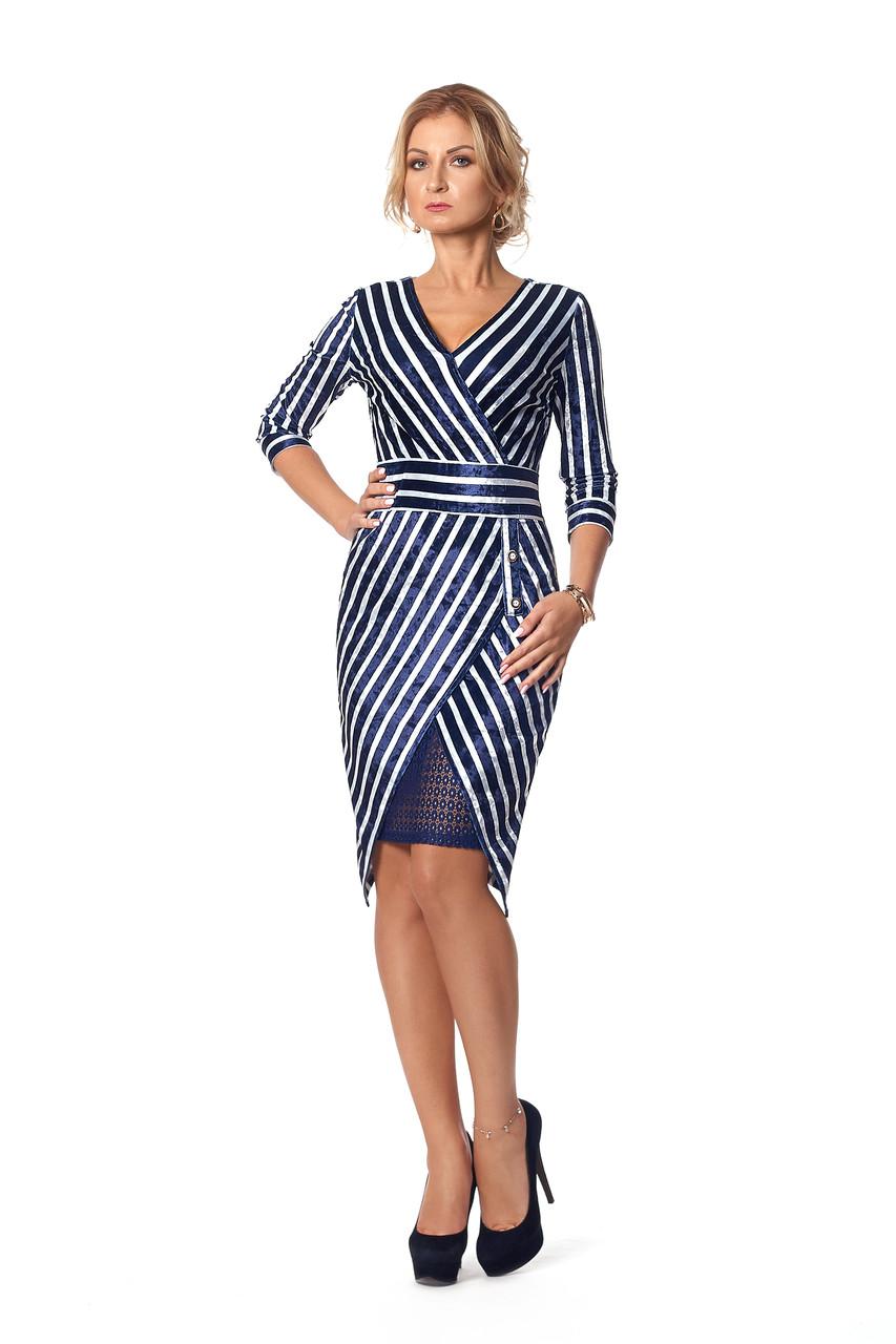 Платье бархатное в полоску сине-белое