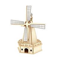 Деревянный конструктор «Ветряная мельница» на солнечной батарее