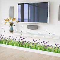 Интерьерная наклейка на стену  Фиолетовые цветы  (SK7005)