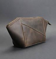 Косметичка кожаная женская коричневая (ручная работа)