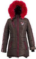 Зимняя тёплая удлиненная куртка- парка для девочек, размеры 38-44, S499