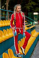 Женский модный спортивный костюм с кофтой на молнии цвет Красный-звёзды