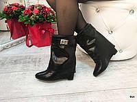 Женские стильные ботинки осенние эко-кожа на танкетке 8 см