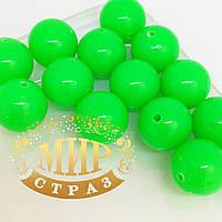 Бусина акриловая, цвет Fluo Emerald, 14мм*1шт