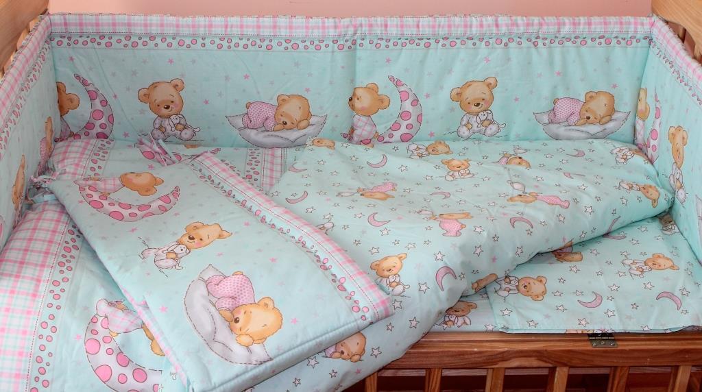 Комплект постельного белья в детскую кроватку Мишка в пижаме мятный  из 3-х элементов