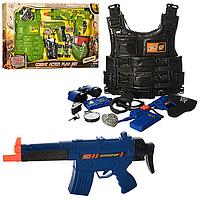 Игровой набор для мальчиков Набор полиции / военногоABC987-1-3 -4 вида, автомат, пистолет, каска, бинокль,