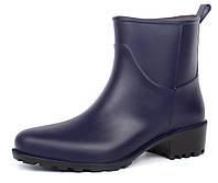 Резиновые ботильоны на каблуке Rain Angel темно-синие, Синий, 38