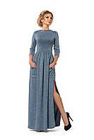 Платье длинное с карманами бирюзовое