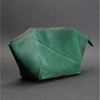 Косметичка кожаная женская зеленая (ручная работа)