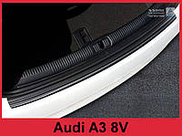 Накладка на задний бампер из нержавейки Audi A3 8V рест. черная