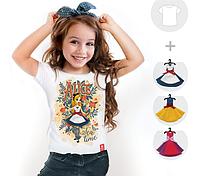 """Футболка детская со съёмными платьями """"Alice light"""""""