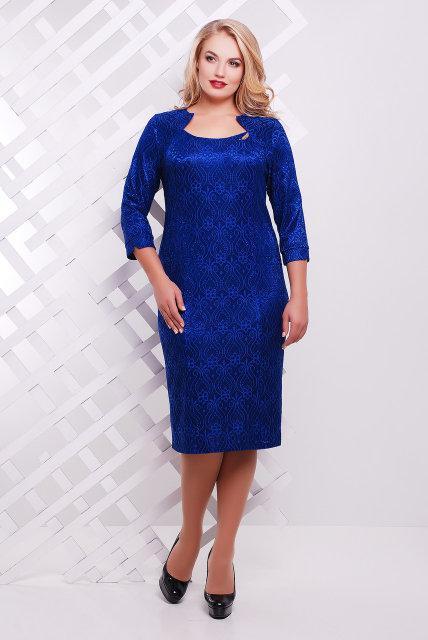 Женское вечернее платье Катрин рукав 3/4 / размер 52,54 / цвет электрик