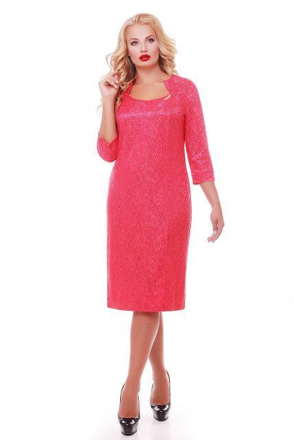 Женское вечернее платье Катрин рукав 3/4 / размер 58 / цвет коралл