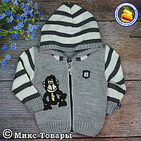 Кофта с капюшоном на молнии Вязка для мальчика Размеры: 1-2-3 года (5666-3)