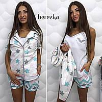 Костюм для дома и модная женская пижама тройка - майка, шорты, пиджак