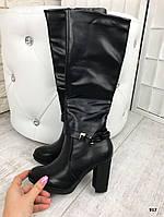 Черные женские осенние сапоги на каблуке 8,5 см эко-кожа