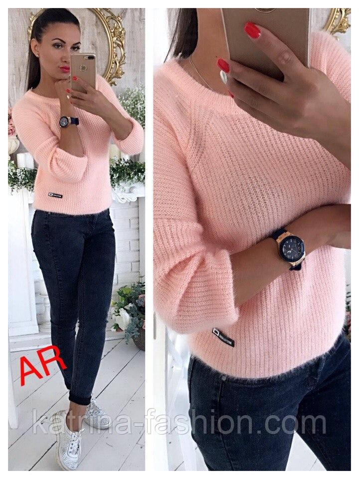 Модный женский свитер машинной вязки, цвет молочный
