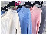 Модный женский свитер машинной вязки, цвет молочный, фото 2