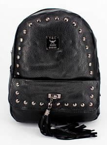 Черный стильный городской женский рюкзак с принтом
