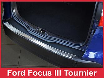 Докладка на задний бампер из нержавейки Ford Focus 3 Turnier