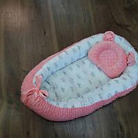Кокон-гнездышко для новорожденных двустороннее + ортопедическая подушка, фото 1