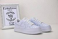 Женские белые кожаные кроссовки Nike air force 1 low, найк еир форс реплика, фото 1